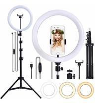 Kit Completo Iluminador Ring Light 26cm com Tripé 2,1mt Dimmer Youtuber Selfie Profissional