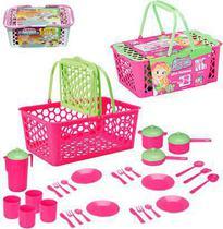 Kit cozinha infantil c/cesta e acessorios leva papinha