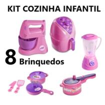 Kit Cozinha Infantil com 8 Brinquedos Liquidificador, Batedeira, Panelinhas AirFryer Panela Pressao