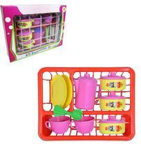 Kit cozinha infantil com escorredor + panela e acessorios 14 pecas na caixa