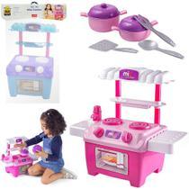 Kit cozinha infantil com fogao + talheres e acessorios mini cooker 16 pecas na solapa - BS TOYS