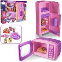 Kit Cozinha Infantil Com Geladeira + Microondas E Acessorios - Oem