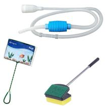 Kit de limpeza de aquário: Limpador de vidro Espuma esponja e raspador 35cm + Peneira / Rede n4+  Sifão limpador de aquário com bomba manual Vigoar