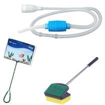 Kit de limpeza de aquário: Limpador de vidro Espuma esponja e raspador 50cm + Peneira / Rede n6+  Sifão limpador de aquário com bomba manual Vigoar