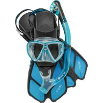 Kit de mergulho bonete máscara+respirador+nadadeira - cressi