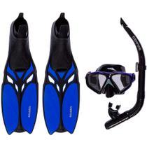 Kit de Mergulho Máscara+Respirador+Nadadeira Cetus Shark Fun Blue