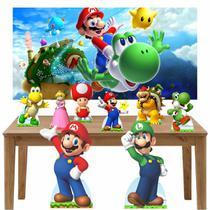 Kit decoração de festa totem display 8pçs+painel-Super Mario