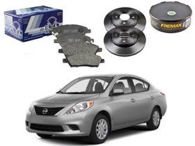 Kit disco pastilha freio dianteiro syl nissan versa 1.6 2012 a 2014