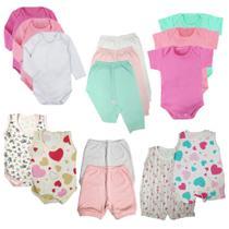 Kit Enxoval Bebê 15 Peças Body Mijão Macacão e Shorts Promo