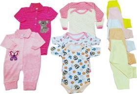 Kit Enxoval Roupa de Bebê 11 Peças Macacão Menina