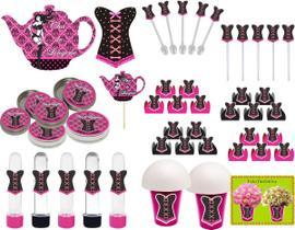 Kit Festa Chá De Lingerie (pink E Preto) 99 Peças (10 pessoas)