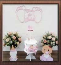 Kit Festa Decoração Chá De Bebê Rosa Único Do Site com 6 itens e 16 peças