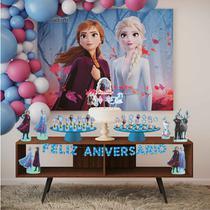 Kit Festa Frozen 2 Ana e Elsa Painel Topo de Bolo Totens EVA