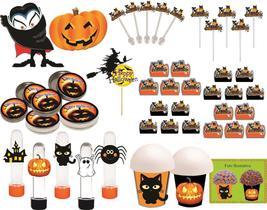Kit Festa Halloween (preto E Laranja) 99 Peças (10 pessoas)
