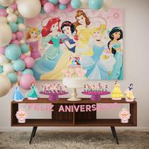 Kit Festa Princesas Disney Painel Topo de Bolo e Totens EVA