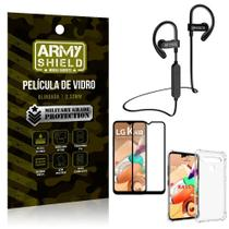 Kit Fone Bluetooth Hrebos HS188 LG K41s + Película 3D + Capa Anti Impacto - Armyshield