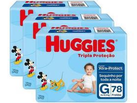 Kit Fraldas Huggies Tripla Proteção Tam. G - 9 a 12,5kg 3 Pacotes com 78 Unidades Cada