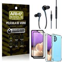 Kit Galaxy A32 5G Fone Extreme + Capa Anti Impacto + Película 3D - Armyshield