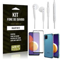 Kit Galaxy M12 Fone de Ouvido + Capa Anti Impacto + Película Vidro 3D - Armyshield