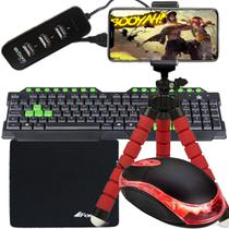 Kit Gamer Mobilador Para Celular Com Teclado + Mouse Óptico Com Suporte Celular