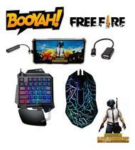 Kit Gamer Mobilador Teclado One Hand E Mouse + Kit Cel Jogos