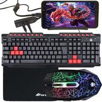 Kit Gamer Para Celular Com Teclado + Mouse Rayden Eg104RB + Mouse Pad Fortrek Preto + Acessórios