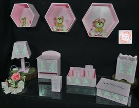 Kit Higiene bebê mdf 8 pçs + 3 Nichos Rosa - URSINHA ROSA (Pronta Entrega)