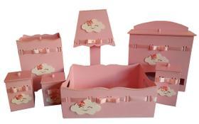 Kit Higiene bebê MDF Nuvem Chuva de Amor Chuva de Bençãos Rosa
