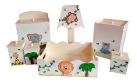 Kit Higiene bebê MDF Safári Bichinhos da Floresta Bege