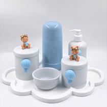 Kit Higiene Bebê Porcelana Ursinho Baloeiro Bandeja Nuvem Garrafa Azul 6pçs