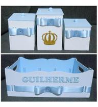 Kit Higiene De Bebê Cestinha + 3 Potes Azul Bebê