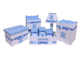 Kit Higiene De Bebê Em Mdf Tema Ursinho Azul Bebê