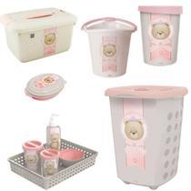 kit higiene e acessórios p/ o quarto do bebe  ursa ted plasutil