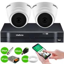KIT Intelbras 2 Câmeras HD + DVR Intelbras 1104 + Acessórios + App Monitoramento + HD 500 GB
