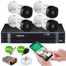 KIT Intelbras 4 Câmeras HD + DVR Intelbras 1104 + Acessórios + App Monitoramento + HD 500 GB