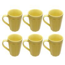 Kit Jogo 6 Canecas/xicaras 250ml Porcelana Fervedor Café Chá