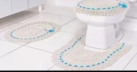 Kit Jogo De Banheiro 3 peças Crochê Feito A Mão Palha com Azul