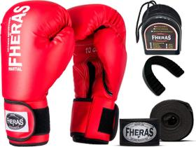 Kit Luva de Boxe Muay Thai MMA Bandagem Bucal 12oz Vermelha