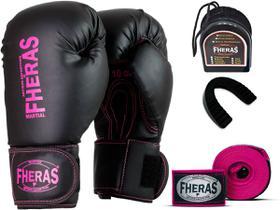 Kit Luva de Boxe Muay Thai MMA Pro Bandagem Pink Bucal 8oz