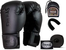Kit Luva de Boxe Muay Thai MMA Pro Black Bandagem Bucal 8oz