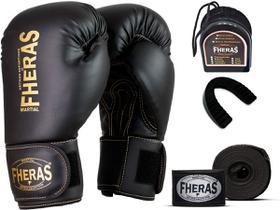 Kit Luva de Boxe Muay Thai MMA Pro Gold Bandagem Bucal 10oz