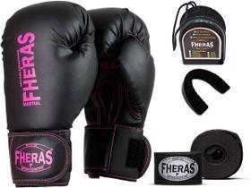 Kit Luva de Boxe Muay Thai MMA Pro Pink Bandagem Bucal 8oz