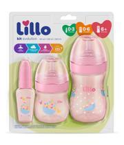 Kit Mamadeira Lillo Evolution Primeiros Passos 0-3 meses / 0-6 meses/ 6+ meses - Rosa