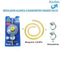 Kit mangueira 1,25 mt + regulador aliança + abrçadeiras