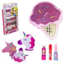 Kit Maquiagem Infantil Unicórnio com Bolsa Ice Cream