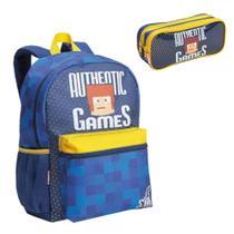 Kit Mochila Infantil G Costas Estojo 2 Compartimentos Authentic Games Sestini Azul
