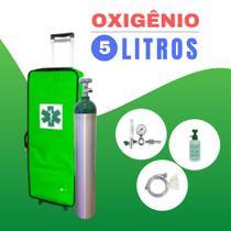 Kit Oxigênio Portátil 5 Litros - Bolsa Verde com Rodinhas