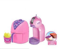Kit Panelinha Air Fryer +Cafeteira Kids Mini Colors Menina Brinquedo Zuca Toys
