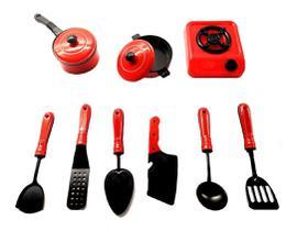 Kit Panelinhas Com Fogão Infantil Cozinha Brinquedo Diversão