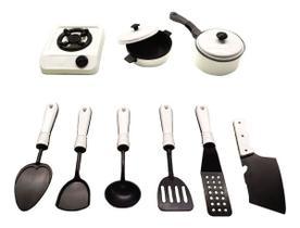 Kit Panelinhas Infantil com Fogão Panelas e Acessórios de Cozinha Diversão - Small Kitchen Branco MS1424